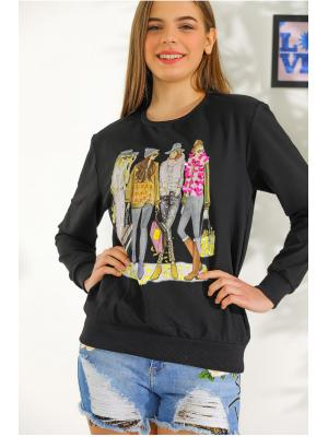 Women's Bead Embroidered Black Sweatshirt